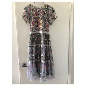 Needle & thread inspired Embroidery maxi dress NWT